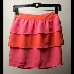 H&M Orange And Pink Tiered Mini Skirt